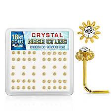 PIERCING NASO ARGENTO 925 Placcato Oro giallo fiore 3D l-forma