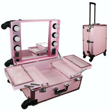 Pink Pro Studio Artist Train Rolling Makeup Case with Light Wheeled Organi