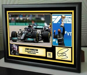 """LEWIS HAMILTON 100 Wins Russia 2021 F1 Framed Canvas Signed Print """"Great Gift"""""""