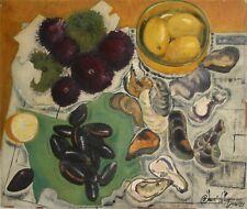 ROBERT SAINT-CRICQ-French Modernist-Original Signed Oil-Mussels/Fruit Still Life