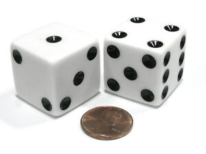 Set of 2 D6 25mm Large Opaque Jumbo Dice - White with Black Pips