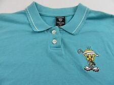 Warner Bros Embroidered Tweety Bird Golf Polo Shirt Womens Size L