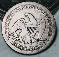 1857 Seated Liberty Quarter 25C Higher Grade Good Date 90% Silver US Coin CC5788