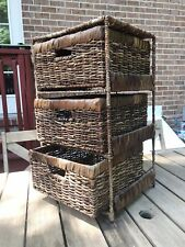 """23"""" Wicker And Metal 3-Drawer Chest Side Table"""