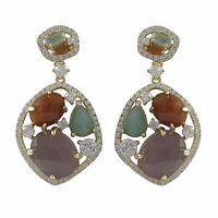 Gold Over Sterling Silver Multicolored Semi-precious Stone Earrings