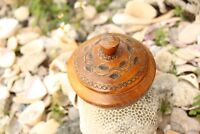 """Carved wood round box made in Poland  4"""" diameter 3"""" high"""