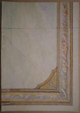 Aquarelle Ancienne Projet de Décoration Fleurs Vase Ornementation c.1870 XIXe