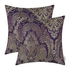 Home Decor x2 Throw Pillow Case Cover 18 x 18 In Reversible Vintage Deep Purple