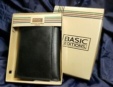 Basic Editions Man's Genuine Black Leather Wallet, New in Box