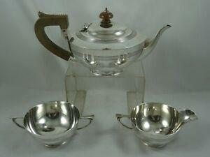 SUPERB, ART DECO , solid silver TEA SET, 1916, 815gm