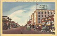 """Douglas, ARIZONA - """"G"""" Avenue - 1944 - old cars, signage"""