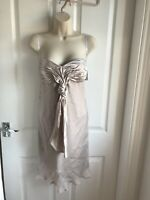 BNWT Lipsy Nude Silk Strapless Pleated Dress Party/ Formal - Size UK 12