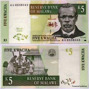 MALAWI 5 KWACHA 1997 PICK 36 UNC