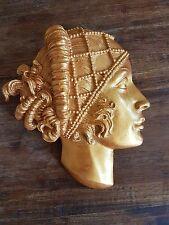 Art Deco gold Lady Face plaster wall hanging decorative plaque Art Nouveau  gift