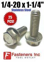 1//4-20x1//2 Stainless Steel Hex Cap Screws FT Hex Bolts 18-8 COARSE THREAD - 25 pcs UNC