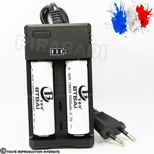 2 PILES ACCU RECHARGEABLE 18650 3.7v 5000mAh BATTERY BATTERIE + CHARGEUR RS-99