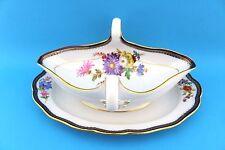 Meissen A-Kante Blumenbukett Sauciere Oval Goldrand gravy boat porcelain 26 cm