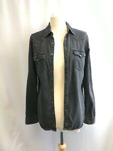 PULL&BEAR Womens Grey 100% Cotton Button Up Shirt, Size 28