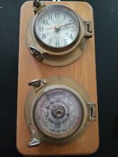 """6' Brass Quartz  """"Ships Time""""Clock And Barometer. Mounted on wood"""