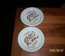 Two Vintage Buffalo China Silver Saddle Restaurant Bread Plates