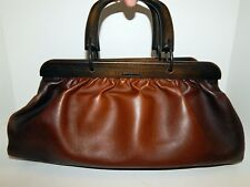Gucci Brown Distressed Leather Wood Handle Dr Satchel Bag Italy