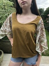 Vintage Scarf Top T-shirt Hand Made Ooak Upcycled Customised Size 12 ❤️