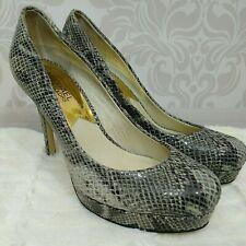 Michael Kors Leather Faux Snakeskin Platform Heels Size 7.5 Pumps Gray