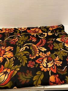 Black 100% Cotton Spice Market Floral Flannel Fabric  By The Yard