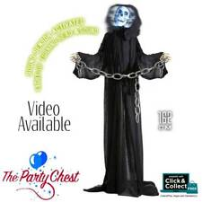 1.6M ANIMATED GRIM REAPER WITH LIGHT UP HEAD Halloween Party Trick or Treat Prop