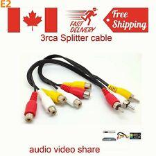 3 RCA Male Jack to 6RCA Female Plug Splitter Audio Video AV TV DVD Adapter Cable