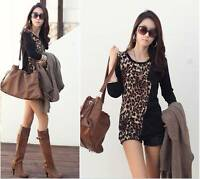QB Womens Ladies' Leopard Print Elegant Long Sleeve  Top/Tunic/T-shirt