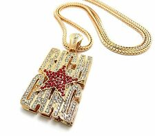 "NEW ICED OUT RICH GANG PENDANT &4mm/36"" FRANCO CHAIN HIP HOP NECKLACE - XP911"