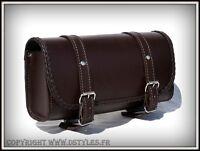 Sacoche de fourche / sac trousse à outils Cuir rectangulaire marron moto trike