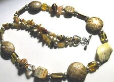 "Gold & Yellow Colored Painted & Artglass Beads -Silvertone Heart Toggle 26"" NEW"