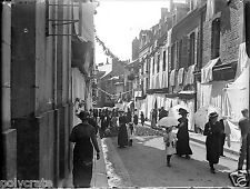 Rue ville village Bretagne animée  négatif photo verre photo - an. 1910 1920