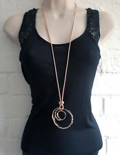 "Stunning 34"" long rose GOLD tone chain & big chunky swirl pendant necklace"