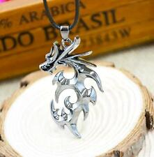 Cool Men's Stainless Steel Dragon Pendant Necklace With Leather Chain Hot Gift