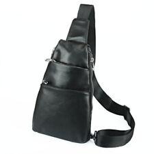 Genuine Leather Men Chest Bag Black Soft Sling Cross Body Shoulder Bags Day Pack