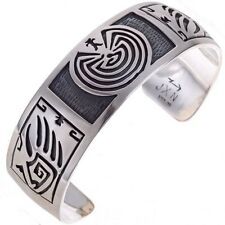 Overlaid Sterling Silver Bracelet Hopi Man In The Maze Cuff