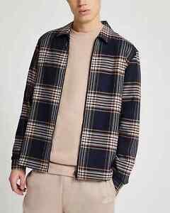 BNWT River Island Navy Check Shacket Shirt Jacket Size XL Rrp£40 50% off