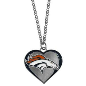 Denver Broncos Heart Shaped Necklace [NEW] NFL Neck Lace Chain Jewelry