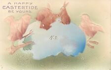Easter~Brown Bunny Rabbits Atop Blue Egg~Angry Chicks~Green Grass~Airbrushed~'05