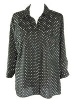 Notations Womens Top Polka Dot Black White Button Down Shirt Size L