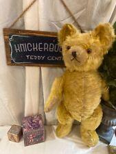 "21"" ANTIQUE 1930s KNICKERBOCKER TEDDY BEAR, RARE STARGAZER, GOLD MOHAIR"