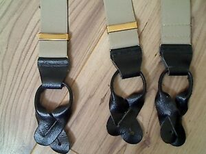 "BROWN MENS BRACES WITH BLACK LEATHER ENDS 1.4"" WIDE MADE IN ENGLAND"