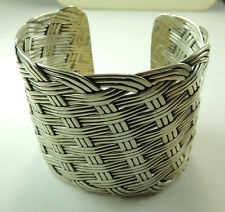 Cuff Wide Sterling Silver Basket Weave Statement Stylish Jewelry