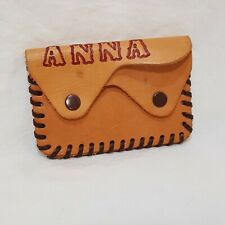 "Vintage Leather Wallet Change Purse 2"" Name Anna Two Pockets Tan"