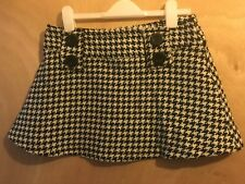 Girls Thick Black & White Chequered Checked Short Skirt Brand New Age 12 Woolen