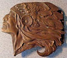 Vintage NATIVE AMERICAN CHIEF HEADDRESS BELT BUCKLE Siskiyou brass metal art