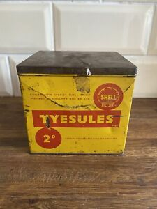 Vintage Rare Tyesules Shell Spirit Lighter Fuel Oil Can Jug Esso Shell Oil